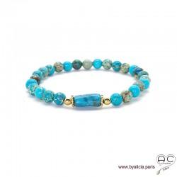 Bracelet avec jaspe océan bleu et apatite, pierres semi-précieuses, création by Alicia