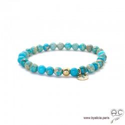 Bracelet avec jaspe océan bleu et médaille martelé en plaqué or, pierres semi-précieuses, création by Alicia