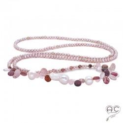 Sautoir perles d'eau douce roses, perles baroques et pierres semi-précieuses, strawberry quartz, tourmaline, création by Alicia