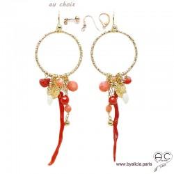 Boucles d'oreilles anneaux diamantées avec pampilles en corail véritable et racine de corail, plaqué or, création by Alicia