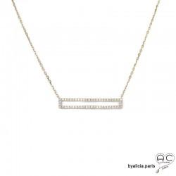Collier barrette serti avec zirconiums brillants, en plaqué or 3MIC, ras du cou, femme