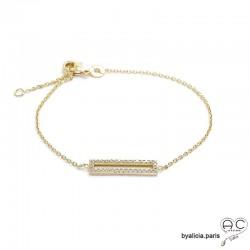 Bracelet barrette serti avec zirconiums brillants, en plaqué or 3MIC, fin, femme, tendance