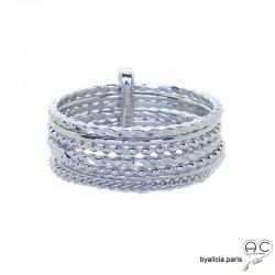 Bague semainier en argent massif rhodié, multiples anneaux ciselés retenu par une barrette