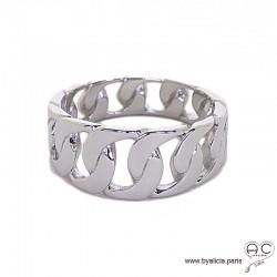 Bague anneau maillons chaîne en argent massif rhodié, femme, tendance
