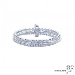 Bague trois anneaux fins en argent massif rhodié retenu par une barrette
