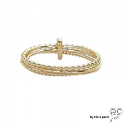 Bague trois anneaux fins en plaqué or 3MIC retenu par une barrette