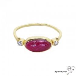 Bague indien rubis cabochon sur l'anneau fin en plaqué or 3MIC, pierre naturelle, femme