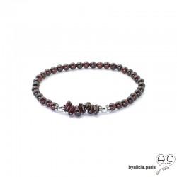 Bracelet grenat, pierre semi-précieuse rouge et argent massif, élastique, création by Alicia