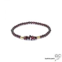Bracelet grenat, pierre semi-précieuse rouge et plaqué or 3MIC, élastique, création by Alicia