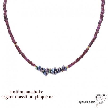 Collier en grenat rhodolite et perles d'eau douce keshi grises, plaqué or, pierre semi-précieuce, choker, création by Alicia