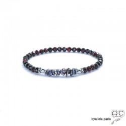 Bracelet grenat et perles keshi grises, pierre semi-précieuse, argent massif, élastique, création by Alicia