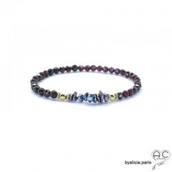 Bracelet grenat et perles keshi grises, pierre semi-précieuse, plaque or 3MIC, élastique, création by Alicia