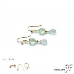Boucles d'oreilles améthyste verte, pendantes, plaqué or et pierre semi-précieuse, création by Alicia