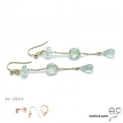 Boucles d'oreilles améthyste verte, pendantes, longues, plaqué or et pierre semi-précieuse, création by Alicia