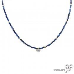 Collier LALY en hématite bleue et zirconium brillant, choker pierres naturelles et plaqué or, ras de cou, création by Alicia