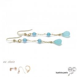 Boucles d'oreilles calcédoine bleue, pendantes, longues, plaqué or et pierre semi-précieuse, création by Alicia