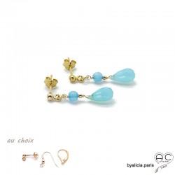 Boucles d'oreilles calcédoine bleue, pendantes, plaqué or et pierre semi-précieuse, création by Alicia