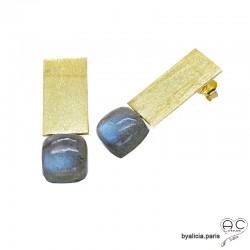 Boucles d'oreilles inspiration Art Déco en labradorite et plaquette en argent massif doré à l'or fin 18K, uniques