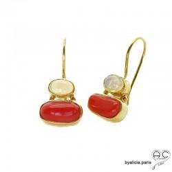 Boucles d'oreilles avec corail véritable et opale, argent massif doré à l'or fin 18K, pendantes, femme