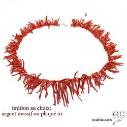 Collier franges en corail véritable rouge, unique, pièce d'exception, bohème chic, création by Alicia