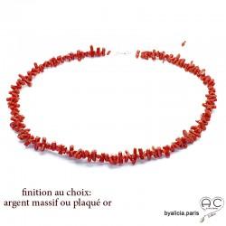 Collier en corail rouge véritable bâtonnet, ras de cou, bohème chic, création by Alicia
