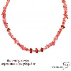 Collier en corail rose véritable chips, ras de cou, plaqué or 3MIC ou argent massif, bohème chic, création by Alicia