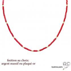 Collier en racine de corail rouge et plaqué or ou argent massif, ras de cou, fin, choker, création by Alicia