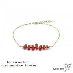 Bracelet avec corail véritable rouge, bâtonnets sur une chaîne fine, fait main, création by Alicia