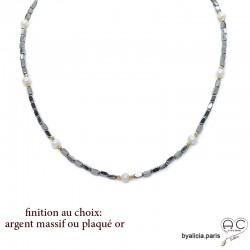 Collier, sautoir en hématites argent et perles d'eau douce blanches, pierre naturelle, création by Alicia