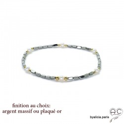 Bracelet en hématites argent et perles d'eau douce blanches, pierre naturelle, création by Alicia