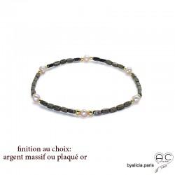 Bracelet en hématites bronze et perles d'eau douce roses, pierre naturelle, création by Alicia