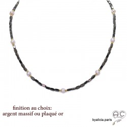 Collier, sautoir en hématites bronze et perles d'eau douce roses, pierre naturelle, création by Alicia