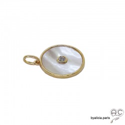 Médaille en nacre et brillant sertie clos, ronde, plaqué or 3MIC, tendance, bohème