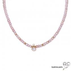 Collier en perles de culture d'eau douce roses et zirconium brillant, plaqué or 3MIC, ras de cou, création by Alicia
