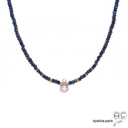 Collier en hématite bleue et zirconium brillant, pierre naturelle et plaqué or 3MIC, ras de cou, création by Alicia