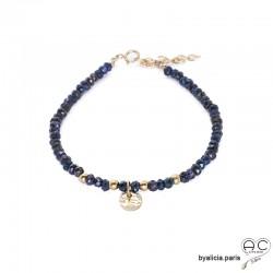 Bracelet en hématite bleue avec pampille médaille, pierre naturelle, plaqué or 3MIC bohème, création by Alicia