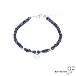 Bracelet en hématite bleue avec pampille médaille, pierre naturelle, argent massif, bohème, création by Alicia