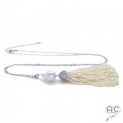 Sautoir pompon perles de culture d'eau douce avec la corolle serti pavé zirconium blanc, perle baroque, chaîne argent 925 rhodié