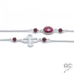 Sautoir grenat et sillimanite rubis, pierres fines et trefles ajouré sur une chaîne en argent 925 rhodié, création by Alicia