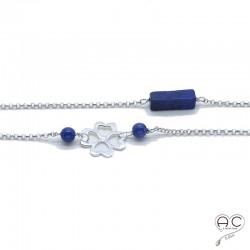 Sautoir lapis lazuli, pierre semi-précieuse et pastilles ajouré sur une chaîne en argent 925 rhodié, création by Alicia