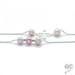 Sautoir perles d'eau douce roses et tréfles argent sur une chaîne en argent 925 rhodié, création by Alicia