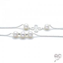 Sautoir perles d'eau douce blanches et tréfles argent sur une chaîne en argent 925 rhodié, création by Alicia