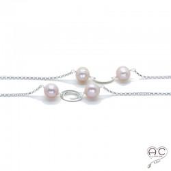 Sautoir perles d'eau douce roses et pastilles argent sur une chaîne argent 925 rhodié, création by Alicia