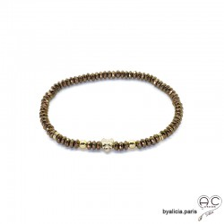 Bracelet porte-bonheur en hématites bronze et coccinelle, plaqué or 3MIC et pierre naturelle, création by Alicia