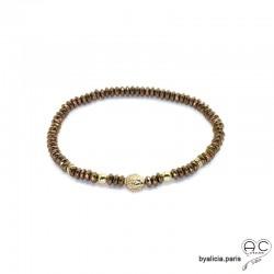 Bracelet de la chance en hématites bronze et tête de Bouddha, plaqué or 3MIC et pierre naturelle, création by Alicia
