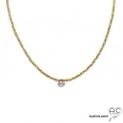 Collier LALY en pyrite doré et zirconium brillant, pierre naturelle et plaqué or, ras de cou, fin, choker, création by Alicia