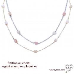Collier, sautoir avec opale rose en cube facetté parsemée sur une chaîne fine en plaqué or ou en argent, création by Alicia