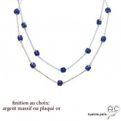 Collier, sautoir, lapis-lazuli en cube parsemée sur une chaîne plaqué or ou argent, pierre naturelle bleue, création by Alicia