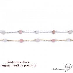 Bracelet avec opale rose en cube facetté parsemée sur une chaîne fine plaqué or ou argent , création by Alicia