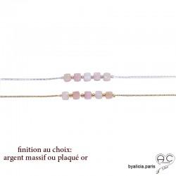 Bracelet avec opale rose en cube facetté sur une chaîne fine plaqué or ou argent, création by Alicia